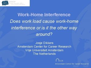 WorkHome Interference Does work load cause workhome interference