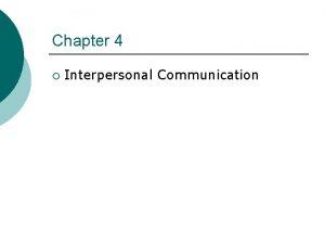 Chapter 4 Interpersonal Communication The Communication Process Noise