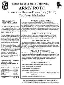 South Dakota State University ARMY ROTC Guaranteed Reserve