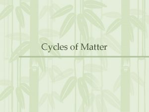 Cycles of Matter More Than Just Energy All