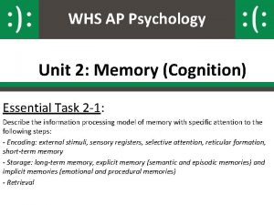 WHS AP Psychology Unit 2 Memory Cognition Essential