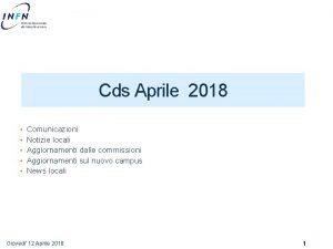 Cds Aprile 2018 Comunicazioni Notizie locali Aggiornamenti dalle