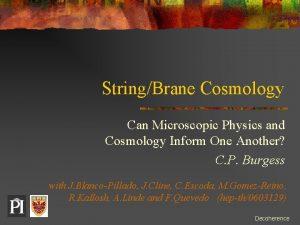 StringBrane Cosmology Can Microscopic Physics and Cosmology Inform