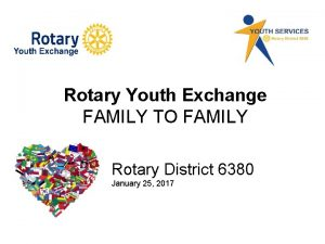 Rotary Youth Exchange FAMILY TO FAMILY Rotary District
