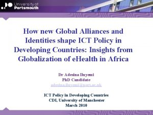 How new Global Alliances and Identities shape ICT