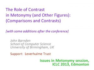 The Role of Contrast in Metonymy and Other