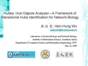 Hubba Hub Objects AnalyzerA Framework of Interactome Hubs