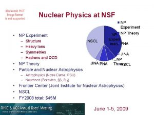 Nuclear Physics at NSF NP Experiment NP Experiment