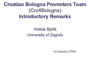 Croatian Bologna Promoters Team Cro 4 Bologna Introductory