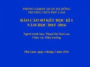 PHNG GDT QUN H NG TRNG THCS PH
