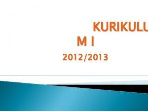 KURIKULU MI 20122013 I DEFINICE KURIKULA Obsah 1