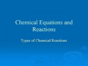 Chemical Equations and Reactions Types of Chemical Reactions
