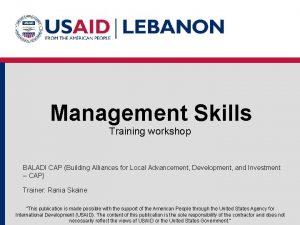Management Skills Training workshop BALADI CAP Building Alliances