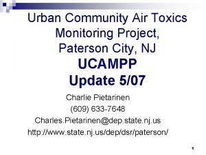 Urban Community Air Toxics Monitoring Project Paterson City