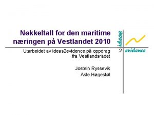 Nkkeltall for den maritime nringen p Vestlandet 2010