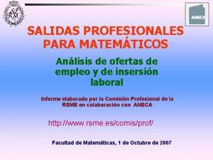 SALIDAS PROFESIONALES PARA MATEMTICOS Anlisis de ofertas de