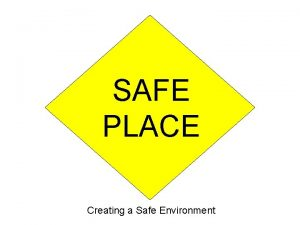 SAFE PLACE Creating a Safe Environment Be SafeBe