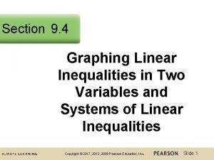 Section 9 4 Graphing Linear Inequalities in Two