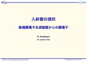 K Furukawa for injector linac Injector Linac Progress
