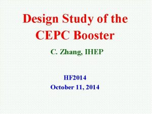 Design Study of the CEPC Booster C Zhang