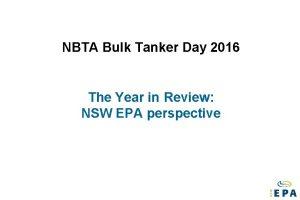 NBTA Bulk Tanker Day 2016 The Year in