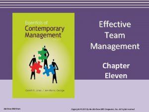 Effective Team Management Chapter Eleven Mc GrawHillIrwin Copyright