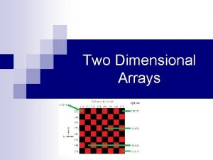 Two Dimensional Arrays Twodimensional Arrays 0 1 2