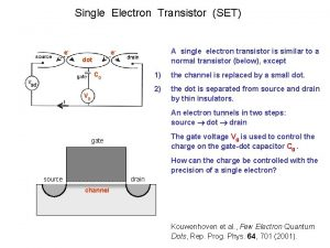 Single Electron Transistor SET e A single electron