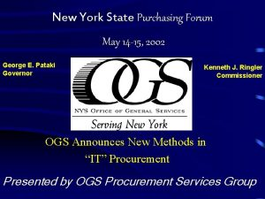 New York State Purchasing Forum May 14 15
