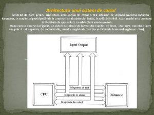 Arhitectura unui sistem de calcul Modelul de baza
