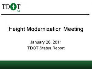 Height Modernization Meeting January 26 2011 TDOT Status
