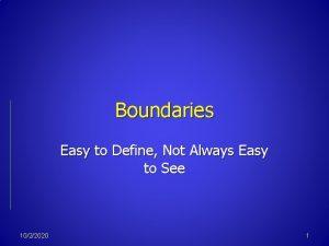 Boundaries Easy to Define Not Always Easy to