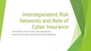Interdependent Risk Networks and Role of Cyber Insurance