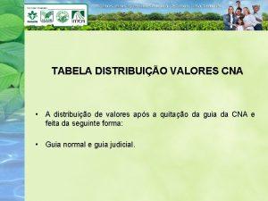 TABELA DISTRIBUIO VALORES CNA A distribuio de valores