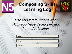 Composing Skills Learning Log Use this log to