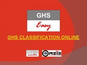 GHS CLASSIFICATION ONLINE Registration Click on Register Registration