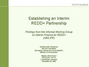 IWG IFR Secretariat Establishing an Interim REDD Partnership