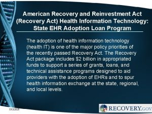 American Recovery and Reinvestment Act Recovery Act Health