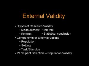 External Validity Types of Research Validity Measurement Internal