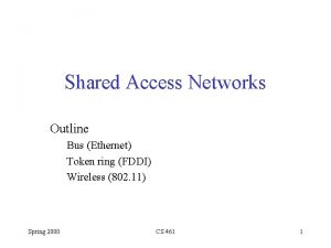 Shared Access Networks Outline Bus Ethernet Token ring