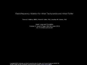 Radiofrequency Ablation for Atrial Tachycardia and Atrial Flutter