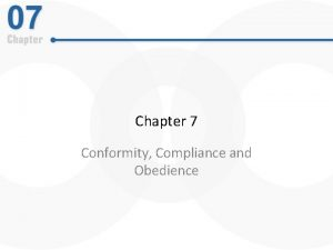 Chapter 7 Conformity Compliance and Obedience Conformity Tendency