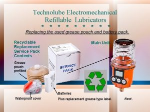 Technolube Electromechanical Refillable Lubricators Replacing the used grease