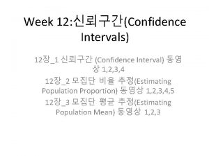 Week 12 Confidence Intervals 121 Confidence Interval 1