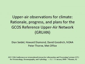 Upperair observations for climate Rationale progress and plans