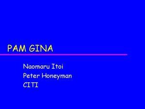 PAM GINA Naomaru Itoi Peter Honeyman CITI The