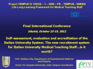 Project TEMPUS IV 159328 1 2009 FR TEMPUS
