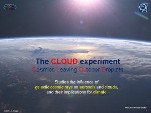 The CLOUD experiment Cosmics Leaving Outdoor Droplets Studies