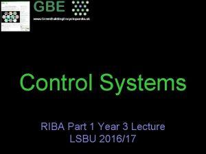 www Green Building Encyclopaedia uk Control Systems RIBA