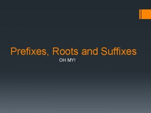 Prefixes Roots and Suffixes OH MY Quick Review